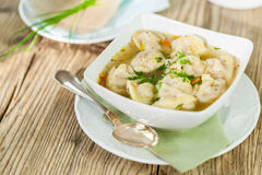 Dish of savory pork tortellini in broth pelmeni russian. Dish of savory tortellini pasta filled with pork in a tasty broth seasoned with fresh herbs and served Royalty Free Stock Photo
