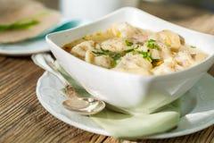 Dish of savory pork tortellini in broth pelmeni russian Stock Photography