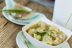 Dish of savory pork tortellini in broth pelmeni russian Royalty Free Stock Photos