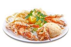Dish of seafood delicacies. Canary recipe photographed in Tenerife Spain Stock Photo