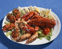 Dish with seafoods Stock Photos
