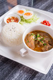 Dish set of steamed rice and Thai traditional spicy soup Royalty Free Stock Photos