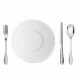 Dish setup on table include fork, spoon and knife. For example vector illustration