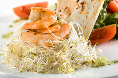 Dish of shrimps Stock Photos