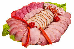 Dish with sliced ham, salami, sausage ... Royalty Free Stock Image