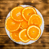 Dish of sliced oranges. food pattern Stock Photography