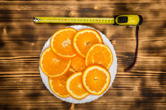Dish of sliced oranges. food pattern Stock Images