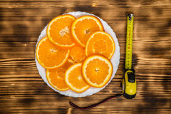 Dish of sliced oranges. food pattern Stock Photo