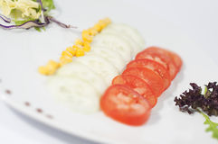 Dish with sliced tomatoes, and cucumbers Stock Photography