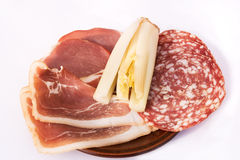 Dish of smoked bacon and salami Royalty Free Stock Images