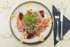 A dish of Smoked Salmon with Fresh chicory Stock Image