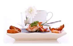 Dish of Smoked Salmon and Prawns Royalty Free Stock Photo