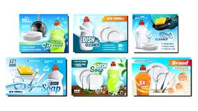 Free Dish Soap Detergent Advertising Posters Set Vector Royalty Free Stock Photography - 184082487