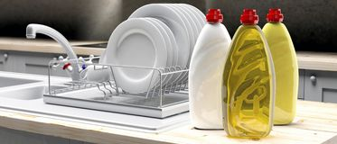 Free Dish Soap Liquid Detergent Containers In Plastic Bottles On Kittchen Dish Rack Background. 3d Illustration Royalty Free Stock Image - 139556316