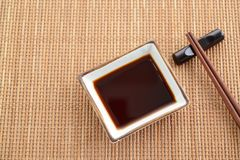 Dish of soy sauce. On the dining table stock photo