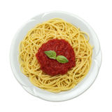 Dish of spaghetti. And tomato sauces, isolated Stock Photo