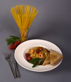 Dish of spaghetti. Bon appetit Royalty Free Stock Images