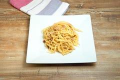 Dish of Spaghetti Carbonara. Shrimp on wood background Stock Images