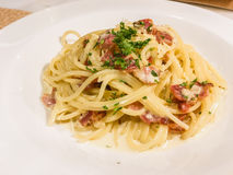 A dish of spaghetti with cream sauce. This is a photo of A dish of spaghetti with cream sauce Royalty Free Stock Image