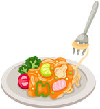 Dish of spaghetti Stock Photos
