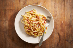 Dish of spaghetti a la carbonara. Overlook shot Royalty Free Stock Photography