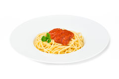 Dish of spaghetti. On white background Royalty Free Stock Image