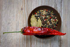 Dish with spices, bay leaf and red pepper Royalty Free Stock Image