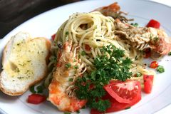 A dish of Spicy Prawn Pasta (spaghetti) Stock Image