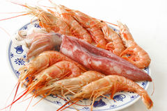 Dish with squid and prawns Stock Photography