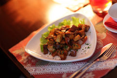 Dish of stewed potatoes Royalty Free Stock Image