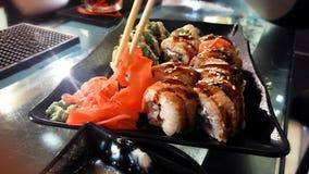 A dish of sushi at the bar Royalty Free Stock Photo