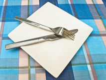 Dish at tablecloth Royalty Free Stock Photo