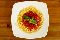 Dish with tometo spaghetti Stock Photo