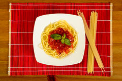 Dish with tometo spaghetti Royalty Free Stock Photos