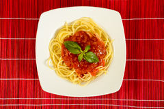 Dish with tometo spaghetti Stock Photos
