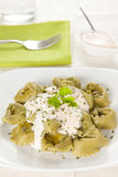 Dish of tortellini with cheese sauce Royalty Free Stock Photography