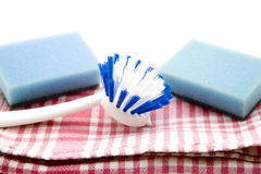 Dish towel and Rinsing brush with sponge Stock Photo