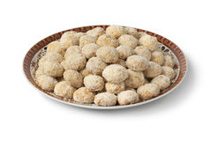 Dish with traditional Moroccan coconut cookies Stock Image