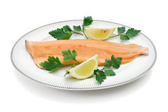Dish with trout fillet Stock Photos