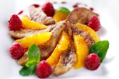 Dish turkey with oranges royalty free stock photography