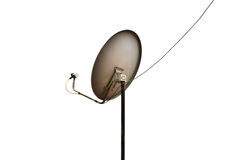 Dish tv. Modern TV satellite dish with dual receivers isolated with work path Stock Images