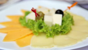 Dish from a variety of cheeses.Cheese appetizer. Dish from a variety of cheeses.Cheese appetizer, sliced cheese stock footage