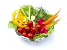 Dish of vegetable. On white background royalty free stock photography