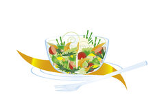 Dish of vegetable salad. On a plate, with fork and napkin royalty free illustration