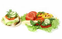 Dish of vegetables. On white Royalty Free Stock Photo
