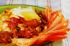 Dish of vegetables and eggs Stock Images