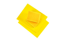 Dish Washing Cleaning Cloths and Sponges. Isolated on White Background. Household Chemical Goods. Top View. Clipping Path Included stock images
