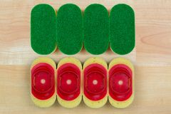 Dish washing heavy duty sponge with quick and easy refill clip o Stock Image