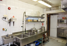 Dish washing room in a restaurant Royalty Free Stock Images