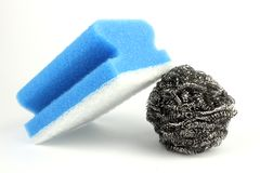 Dish washing sponge with steel wool wire isolated on white background. Dish washing sponge with steel wool wire or metal sponge isolated on white background stock photography